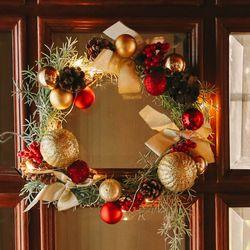 에레보스 미디엄 크리스마스 리스+LED전구 럭셔리 벽장식