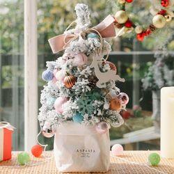 라마스 크리스마스 스텐딩 눈꽃 미니트리(핑크)-크리스마스소품