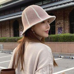 라인 버킷햇 벙거지 모자