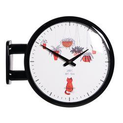 양면에서 시간확인이 가능한 모던양면시계 블랙 고양이