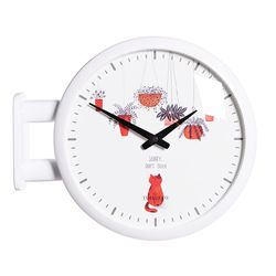 양면에서 시간확인이 가능한 모던양면시계 화이트 고양이
