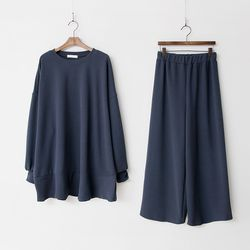 [Set] Gimo Flare Long Tee   Wide Pants
