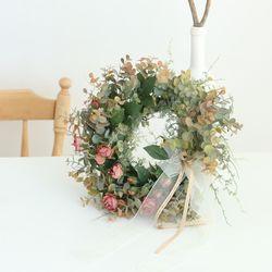 가을 장미 유칼립투스 믹스 리스