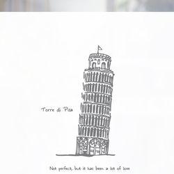불투명 창문시트 피사의 사탑