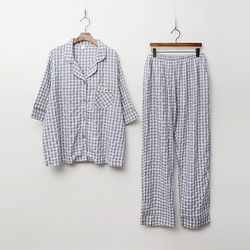Gingham Pajamas Set - 7부소매