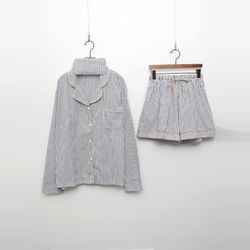 Stripe Cotton Pajamas Set - 안대포함