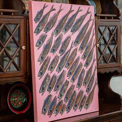 EJ-5679 청어물고기 유화 그림액자