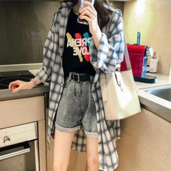 체크 블랑 롱 셔츠 블라우스 코디 캐주얼 데일리 여성