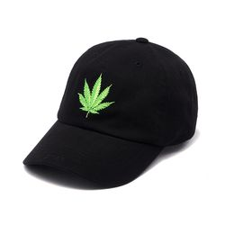 LEAF WASHED BASEBALL CAP BLACK
