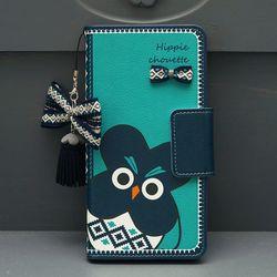 아이폰11 Mh-HippieChouette-Blue 지갑 다이어리 케이스