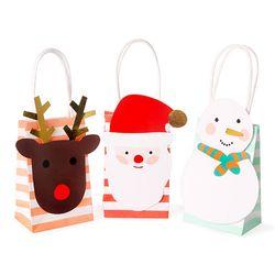 [중복상품] 산타와 친구들 쁘띠 스트라이프 쇼핑백 3set