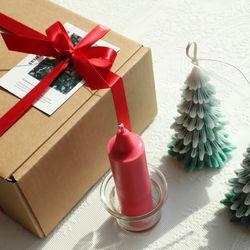 크리스마스 트리 캔들 세트 (카드 + 크레용 캔들 + 받침 포함)
