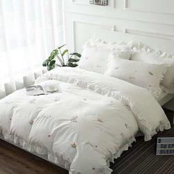 빈티지 꽃자수 침대커버 세트 K
