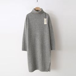 Laine Cashmere Wool Basic Turtleneck Dress