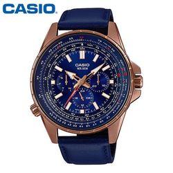 카시오 시계 MTP-SW320RL-2A 가죽밴드 남성용 패션시계