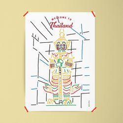 웰컴투타일랜드 M 유니크 인테리어 디자인 포스터 방콕 A3(중형)