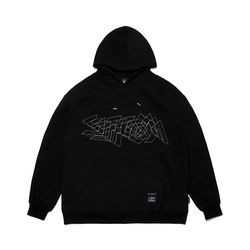 DOTTED LINE OVERSIZED HEAVY SWEAT HOODIE BLACK