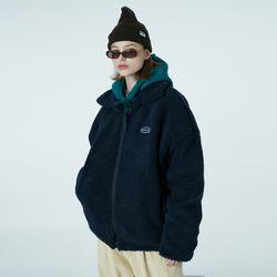 Original embroidery fleece jacket-navy