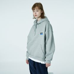 Square patch hoodie-grey