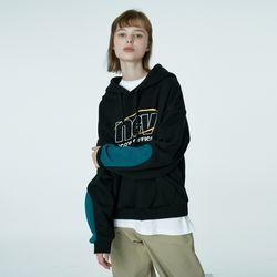 Color sleeve point hoodie-black