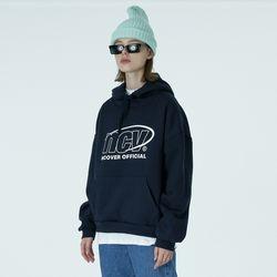 Back logo point hoodie-navy
