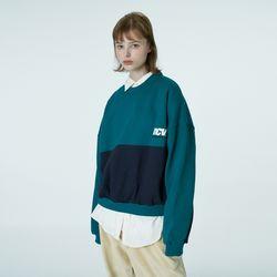 Two tone point sweatshirt-emerald