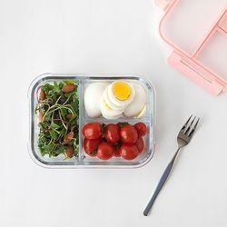 냉장냉동 글라스 3칸 나눔찬통 1500ml