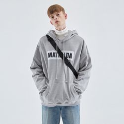 OVER-FIT NAPPING LOGO HOODIE GRAY