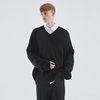 HEAVY OVERFIT V-NECK KNIT BLACK