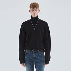 WOOL SOFT OVER KNIT BLACK
