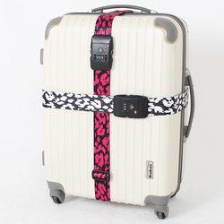 TSA 3다이얼 여행가방 터짐방지 가방보호벨트 - 호피