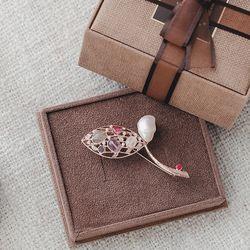 바이데이지 95Bh0168 로즈골드 담수진주 원석브로치