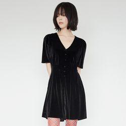 cute velvet mini dress (black)