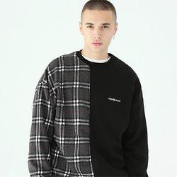 세리프 로고 체크 맨투맨 티셔츠-블랙