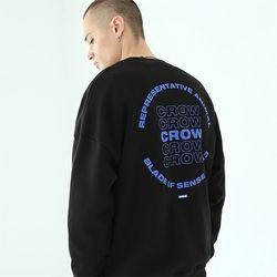 크로우 맨투맨 티셔츠-블랙