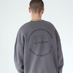 크로우 맨투맨 티셔츠-다크 그레이