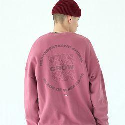 크로우 맨투맨 티셔츠-다크 핑크