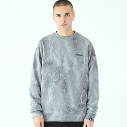물나염 배이직 로고 맨투맨 티셔츠-그레이