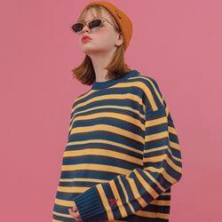 하이틴 컬러믹스 스웨터 딥블루