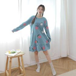 푸디 원피스 블루 잠옷 수면 파자마 홈웨어 세트 이지