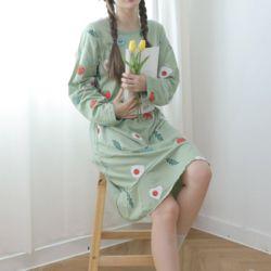 푸디 원피스 그린 잠옷 수면 파자마 홈웨어 세트 이지