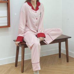밀키레코드 핑크 잠옷 수면 파자마 홈웨어 세트 이지