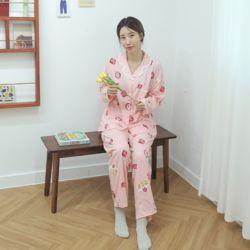 키치프루츠 핑크 잠옷 수면 파자마 홈웨어 세트 이지