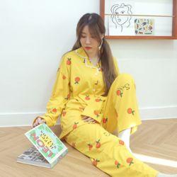 키치프루츠 옐로우 잠옷 수면 파자마 홈웨어 세트 이