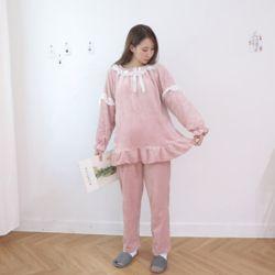레이스 극세사 심플 핑크 잠옷 수면 파자마 홈웨어 세