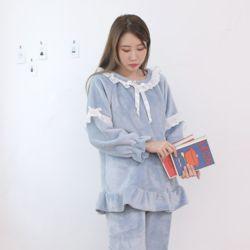 레이스 극세사 심플 스카이 잠옷 수면 파자마 홈웨어