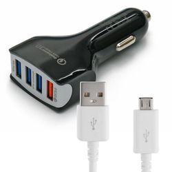 차량용 4포트 USB 시거잭 급속충전기 + 마이크로5핀 케이블