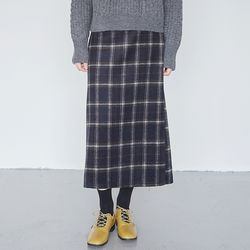 milky check long skirts (2colors)