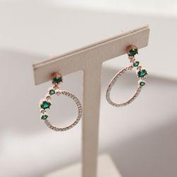 제이로렌 M03289 에메랄드그린 큐빅 로즈골드 귀걸이