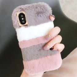 아이폰 파스텔 컬러 겨울 밍크 털 하드 휴대폰 케이스